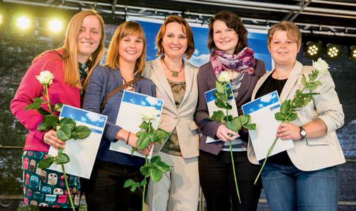 Preisträger des Young Scientist Awards (v.l.n.r.): F. Lauer (Analytische Chemie), A. Tierbach (Aquatische Ökologie), Prof. Dr. E. Dopp (Laudatorin, ZWU), H. Bielak (Aquatische Ökologie), Dr. R. Zdrenka (Universitätsklinikum Essen)